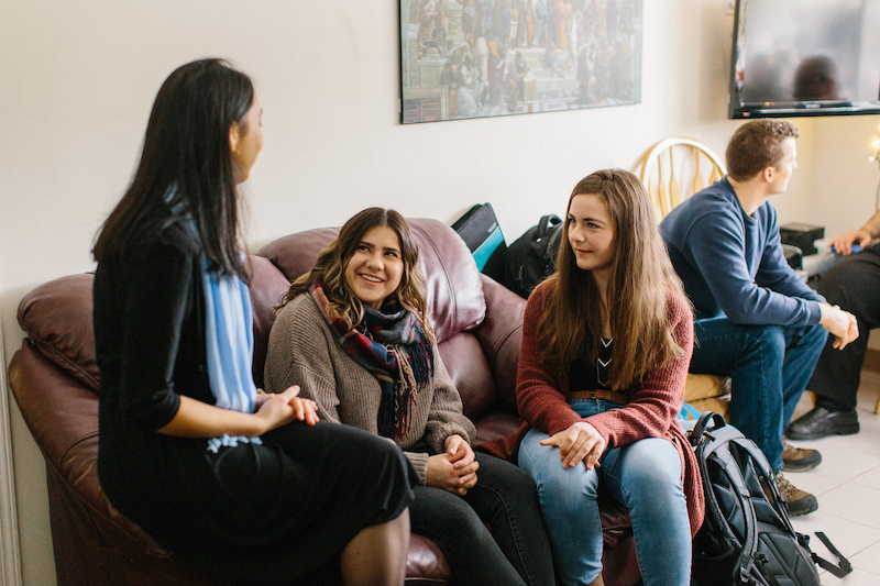Students chatting in student lounge